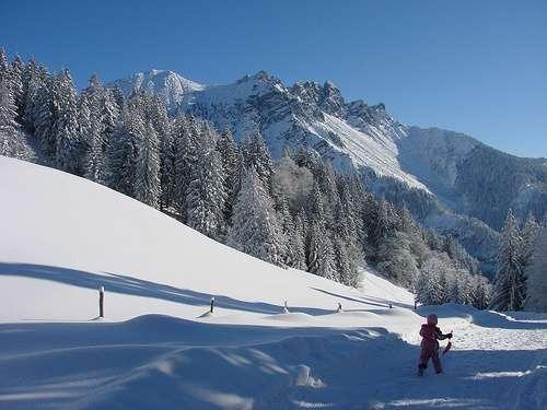 Nieve en las montañas de Vorarlberg