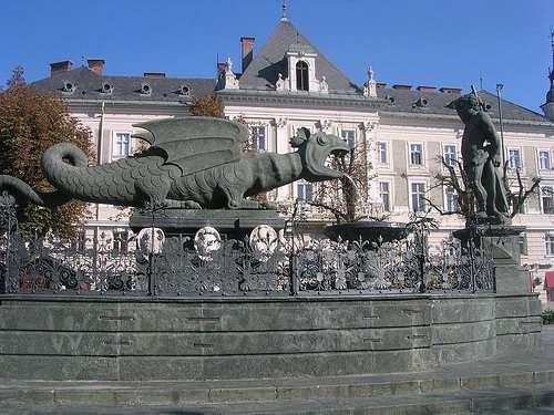Estatua de Lindwurm en la Neuer Platz